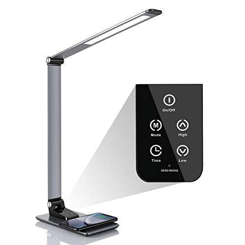 Deckey Schreibtischlampe 12W dimmbare LED Tischleuchte 5 Farbtemperaturen und 6 Helligkeitsstufen, faltbare Tischlampe Wireless Charger USB Ladeanschluss Memory-Funktion Berührungssteuerung Schwarz.