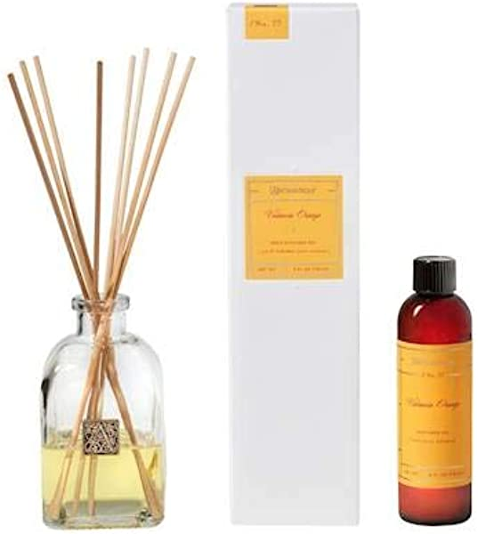 Aromatique Valencia Orange Reed Diffuser Gift Set Square Glass Bottle With Medallion