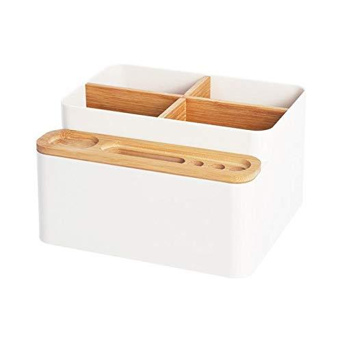 xldiannaojyb Bambú Caja de Almacenamiento Mesa de Escritorio Remoto Caja de Almacenamiento de Control del Compartimiento de Almacenamiento Caja de Almacenamiento Simple Organizador