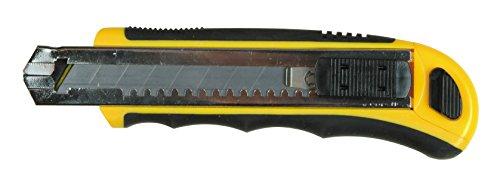 Medid MD908 Cúter amarillo, cutter con hoja de 18mm y recarga automatica de la hoja, guia metálica y estuche bimaterial, incluye 8 hojas de recambio.