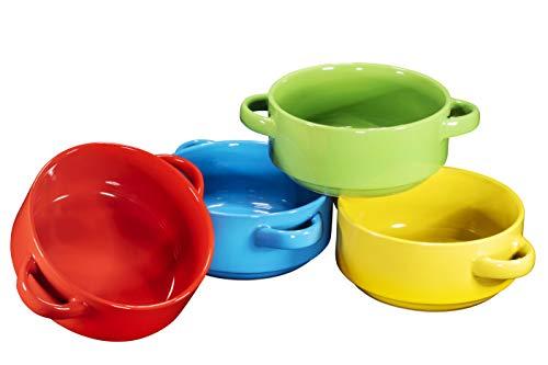 Porcelain 19 Oz. Soup Bowls With Handles - Oven Safe Bowls For French Onion Soup, Multi-Color Oven Soup Bowls, Set Of 4