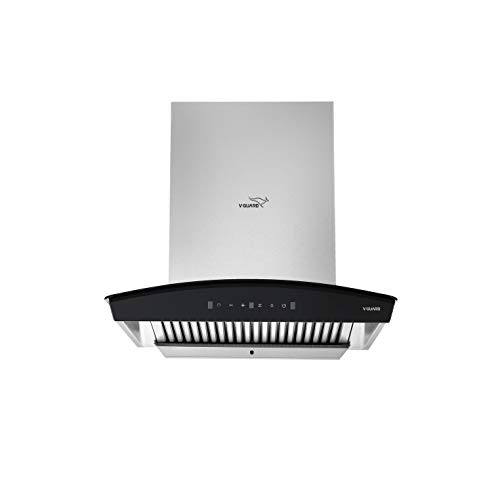 V-Guard A10 60cm Kitchen Chimney with 1200m3/h Suction, Intelligent Auto Clean, Curved Glass, Baffle Filter, Motion Sensor Controls, Oil Collector Tray, LED Light (Stainless Steel) (60)