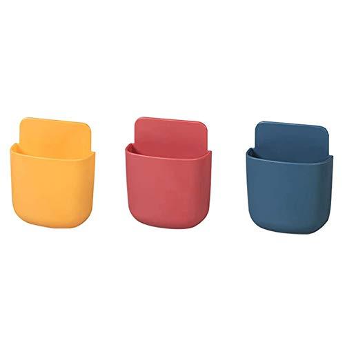 3 Piezas Caja de Almacenamiento de Control Remoto de Pared, Soporte para Mando a Distancia de Abs, Soporte de Montaje en Pared Adecuado para Control Remoto de Tv (Amarillo, Rojo, Azul)