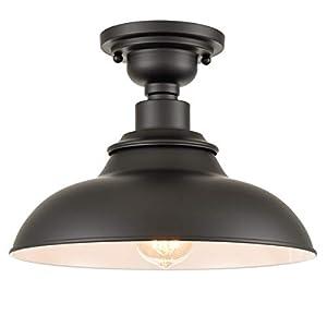 X&T Farmhouse Ceiling Light Semigloss Black Semi Flush Ceiling Lighting Barn Shape Metal Light Fixture