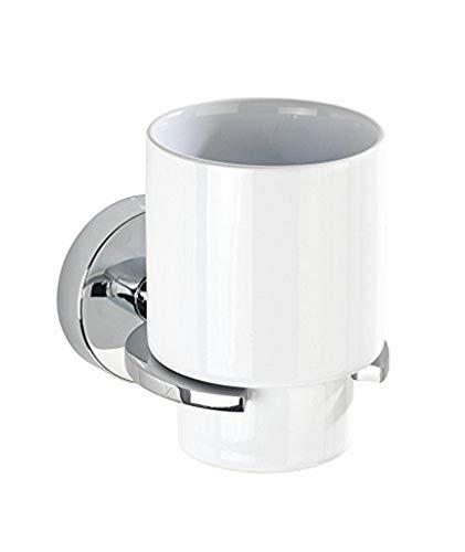 WENKO 22316100 Vacuum-Loc Zahnputzbecher Capri - Zahnbürstenhalter für Zahnbürste und Zahnpasta, Befestigen ohne bohren, Zinkdruckguss, 8 x 10 x 12.5 cm, Chrom