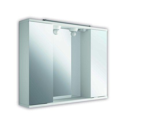 The Living Design Volta kledingkast met 2 deuren met spiegel, hout, wit, 63 x 80 x 15,6 cm