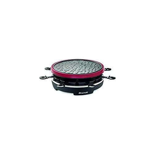Brandt RAC800MG2 - Appareil à Raclette 8 Personnes - Gril en Fonte d'Aluminium Anti-Adhésif - Éléments Amovibles et Compatibles au Lave-Vaisselle - 900W - Noir et Rouge