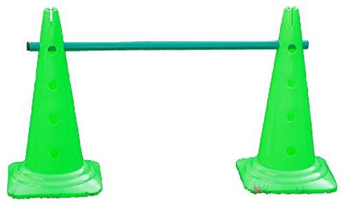Trainingshürde - 2x Mehrzweckkegel: 50 cm, 1x Stange: 80 cm, Farbe: grün