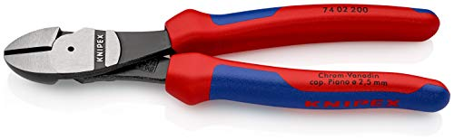KNIPEX 74 02 200 Kraft-Seitenschneider schwarz atramentiert mit Mehrkomponenten-Hüllen 200 mm