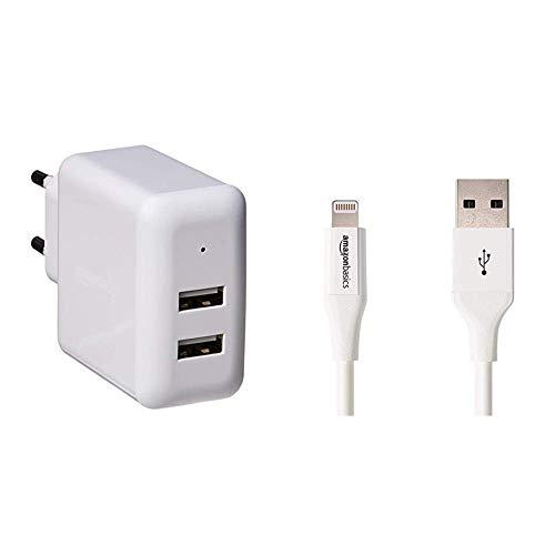 AmazonBasics Cargador USB de Pared de Dos Puertos (2,4amperios), Blanco + Cable de Conector Lightning a USB A para iPhone y iPad - 0,9 m - 1 Unidad, Blanco