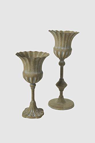 Dekoschale Kelch Schale Pokal H 24 cm Teelichthalter Amphore Libretto Gr. S Vintage Shabby Chic