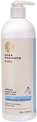 Shea Radiance African Black Soap Body Wash Dry Skin Eczema Rashes Blemish Cleanser Unscented product image
