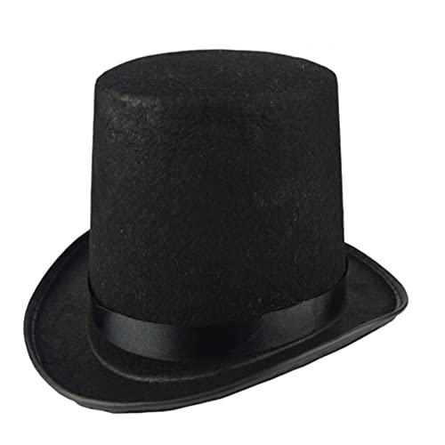 WINOMO Top Hat for Roaring 20s Party Magician Victorian Era Cosplay Costume Black Headpiece Men Women Dress Up Accessory