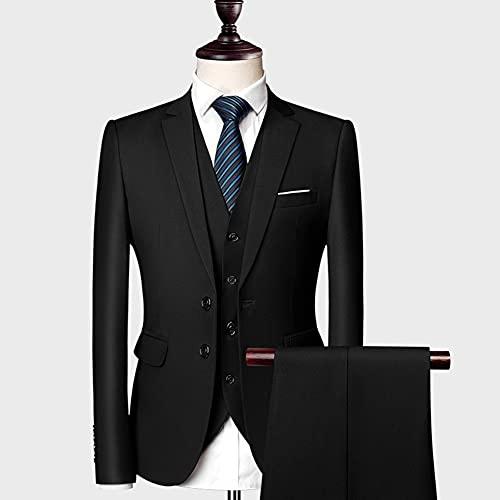 SSMDYLYM Classic Men Trates Slim Bodas Novios Desgaste Masculino Business Casual 3 Piezas de Traje Pantalones(Blazer+Pantalones+Chaleco) (Color : Black, Size : Asia XL 55 to 61kg)