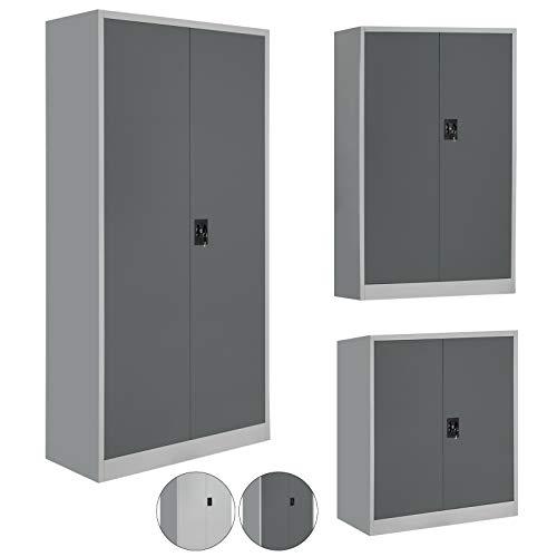 BB Sport Spind Büroschrank Aktenschrank - erhältlich in verschiedenen Größen und 2 Farben, Modell:Dunkelgrau 93 x 90 x 40 cm