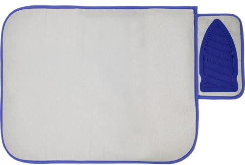 Estethi Bügelunterlage für Tisch, Bügeldecke mit Silikon-Abstellfläche, hitzebeständige + Faltbare Reise Bügelmatte für Dampf-Bügeleisen (71 x 50cm)