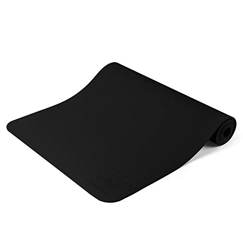Clever Yoga Mat Non Slip - Longer And Wider Than Other Exercise Mats - ¼-Inch Thick High Density Padding To Avoid Sore Knees During Pilates, Stretching & Toning Workouts For Men & Women (Black)