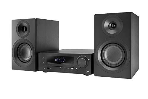 Dual DAB-MS 170 Stereoanlage (DAB(+)-/UKW-Tuner, CD-Player, Musikstreaming via Bluetooth, USB-Anschluss, AUX-IN-Anschluss, Fernbedienung) Schwarz