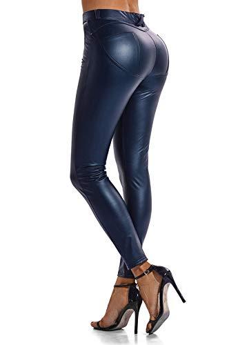 FITTOO Modische Damen Faux PU Leder Leggins Hohe Taille Hüfthoch Strumpfhose Hose, Blau, XL