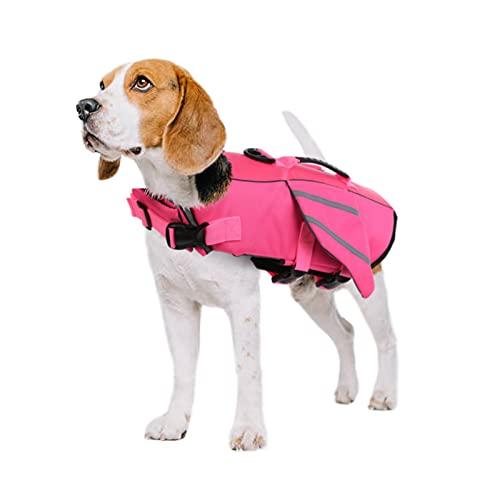 PUMYPOREITY Chaleco Salvavidas para Perros Mascotas Chaqueta Chaleco de Seguridad Perro Perrito Ropa de Baño para Perros pequeños, medianos, Grandes(Rosa, L)