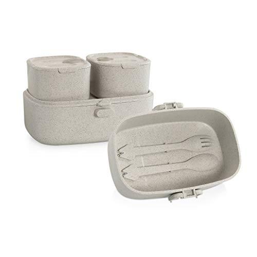Miniland 89273 NATURMEAL ON-THE-GO - Picknick-Set aus Reisfasern mit 3 Behältern, 1 Löffel und 1 Gabel, grau, beige