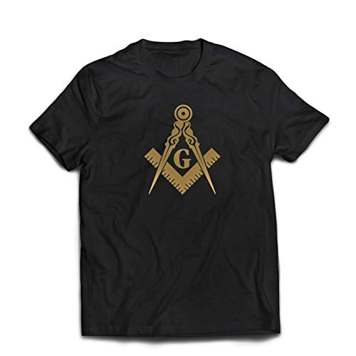 lepni.me Männer T-Shirt Brüderliches und freimaurerisches Logo, Freimaurerplatz und Kompass (XX-Large Schwarz Gold)