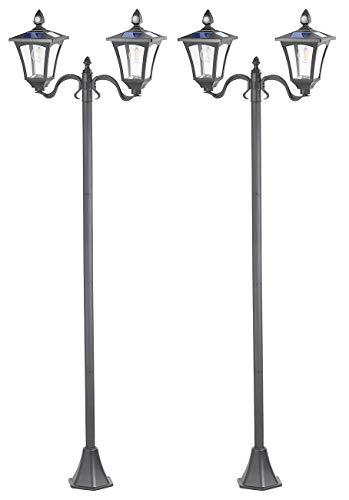 Royal Gardineer Gartenleuchten: 2er-Set Solar-LED-Gartenlaternen, 2 flammig, PIR-Sensor, 600 Lumen (Solarlampe mit Bewegungsmelder)
