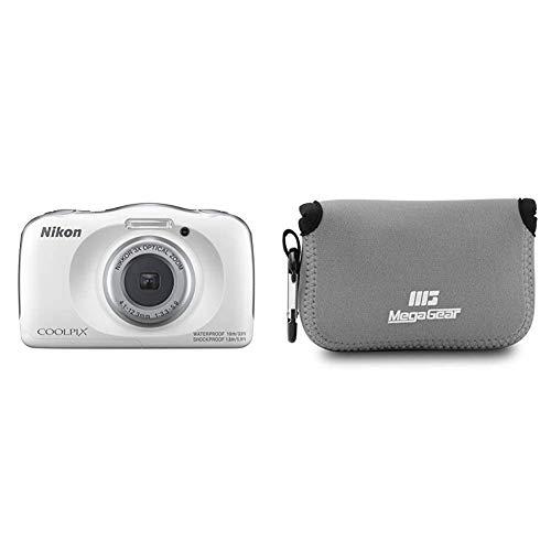 Nikon COOLPIX W150 Kamera, Weiß & MegaGear MG790 Nikon Coolpix W100, S33 Ultraleichte Kameratasche aus Neopren - Grau