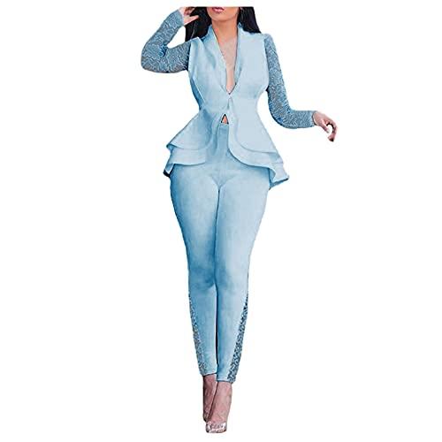 Briskorry Conjunto de traje de dos piezas para mujer con solapa, chaqueta y pantalón, elegante corte ajustado, pantalones para mujer, cuello en V, chaqueta para el tiempo libre., azul, XXXL