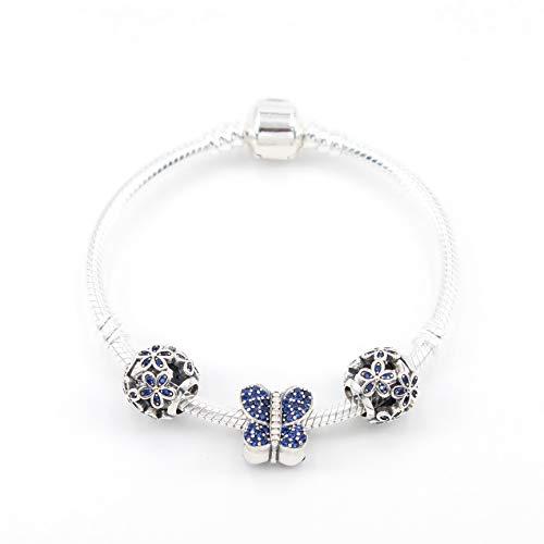 PANDACHARMS Mädchen 925 Silber Armband mit Charms 'Blaue Blumenwiese', Länge 16cm, passt zu Pandora