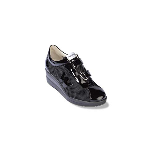 Melluso R20147 - Donna - Walkvelcro, Walk Tex Nero, 38.5