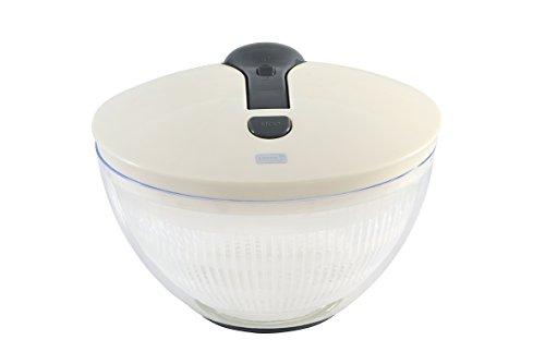 Lurch 10227 Salatschleuder mit Pumphebel aus Kunststoff, Iron Grau/Weiß