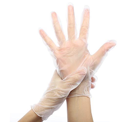 200 Stück Einweghandschuhe m Puderfreie, Einmalhandschuhe Latexfreie Einweghandschuhe m Vinyl Transparente Handschuhe Lebensmittelqualität für Lebensmittel