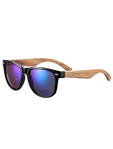 GreenTreen Gafas de Sol Polarizadas Hombre y Mujere, UV400 Protection, Gafas Ligeras con Patillas de Madera (azul)