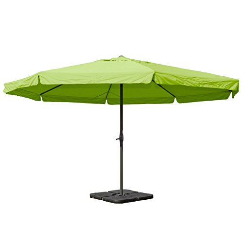 Sonnenschirm Meran Pro, Gastronomie Marktschirm mit Volant Ø 5m Polyester/Alu 28kg - grün mit Ständer
