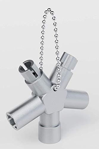 ABSINA Universalschlüssel mit 4 Profile - Dreikantschlüssel Vierkantschlüssel Schaltschrankschlüssel Vierkant Dreikant Bauschlüssel - Universal Schlüssel für gängige Schränke & Absperrsysteme