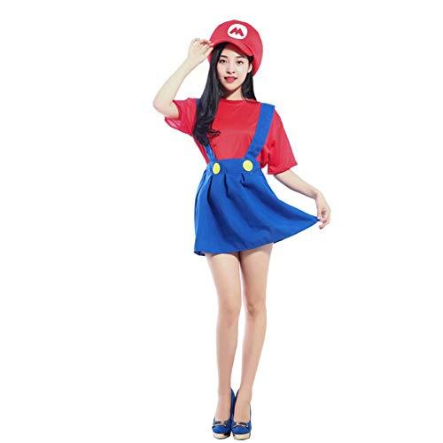 RenKeAi Adultos Niños Super Mario Luigi Bros Fontanero Hermanos Disfraz Disfraz Disfraz Sombrero + Pantalones + Barba - Disfraz para niños
