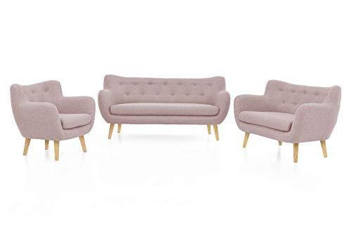 Furniture for Friends Möbelfreude Couch Jana Sofagarnitur Sessel Einzelsofa mit Massivholz-Füßen Dreisitzer Altrosa - Eiche massiv komplette Couch-Garnitur (3-TLG.)