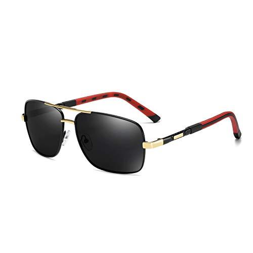 Long Keeper Rectangulares Gafas de Sol Clásicas para Hombre Polarizadas con Lentes de Protección UV Retro Gafas para Conducir Deportes Marco De Metal (Negro y Gris Oro)