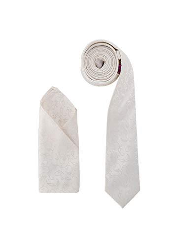 Juego de pañuelo de corbata de boda de DressCode, color marfil, patrón de flores tejidas