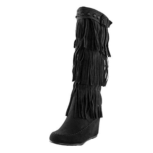 Nature Breeze Womens Bridget-02Hi Suede Fringe Studded Moccasin Knee High Wedge Boot,Black,6.5