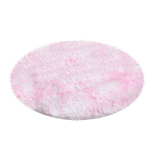 ZL Multicolor Rug Fluffy Shag Round Area Rug Plush Carpet For Kids Girls Living Room Bedroom Decor-100x100cm__Pink