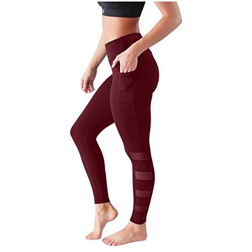 XCVBX Pantalón Pantalones de Mujer Mallas Leggings Deportivos de Yoga Secado Rápido Color Sólido Fitness Correr Pantalones de Yoga Anticelulíticos Pantalones de Chándal de Cintura Alta