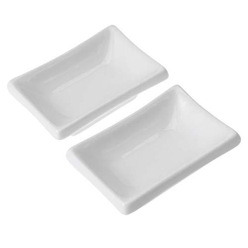 Cabilock 2 Platos de Salsa de 3 Pulgadas Bandeja de Cerámica para Servir Aperitivos Platos Rectangulares para Condimentos Tazones para Sumergir para Platos de Especias Salsa de Soja