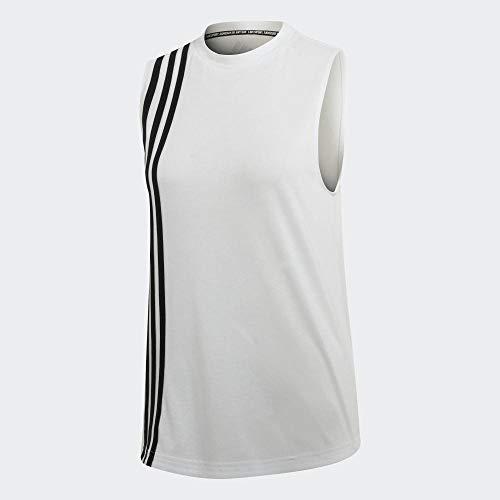 adidas Camiseta de Tirantes para Mujer con 3 Rayas, Mujer, Tanque, EB3816, Blanco/Negro, Small