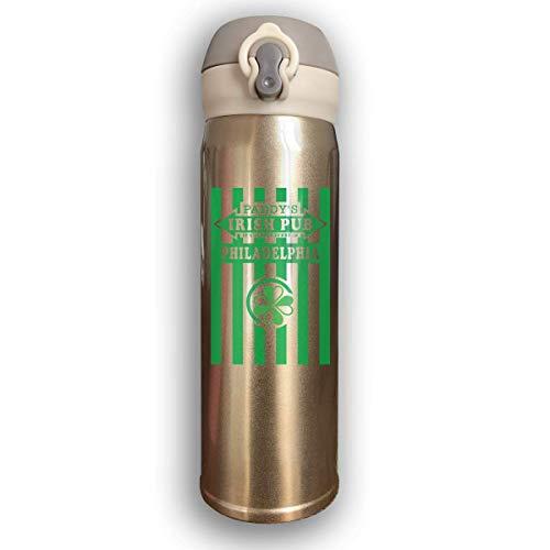 Bestqe Edelstahl-Trinkflasche,Doppelwandige Vakuum Isolierte Wasserflaschen It\'s Always Sunny in Philadelphia Paddy\'s Irish Pub Auslaufsichere Thermosflasche 17 Oz