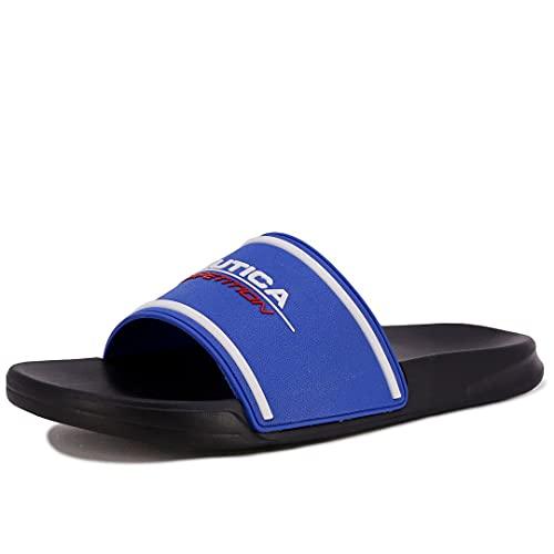 Nautica Men's Athletic Slide Comfort Sandal Shower Slippers Nautica Competition-Holten-Royal Black-8