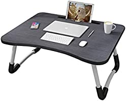 MemeHo® Smart Multi-Purpose Laptop Table with Dock Stand/Study Table/Bed Table/Foldable and Portable/Ergonomic & Rounded...