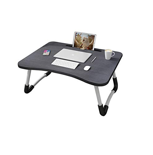 MemeHo® Smart Multi-Purpose Laptop Table with Dock Stand/Study Table/Bed Table/Foldable and Portable/Ergonomic & Rounded Edges/Non-Slip Legs/Engineered Wood (Black)