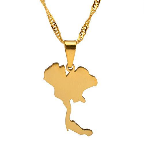 XZZZBXL Map Necklace for Women,Thailand Karte Anhänger Halsketten Mode Persönlichkeit Für Frauen Männer Mädchen Gold Farbe Charme Karten Schmuck 45 cm (18 Zoll)-Thin_Kette